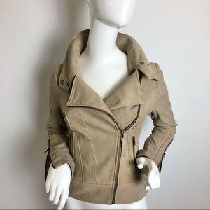 Mackage Lambskin Leather Moto Jacket Tan